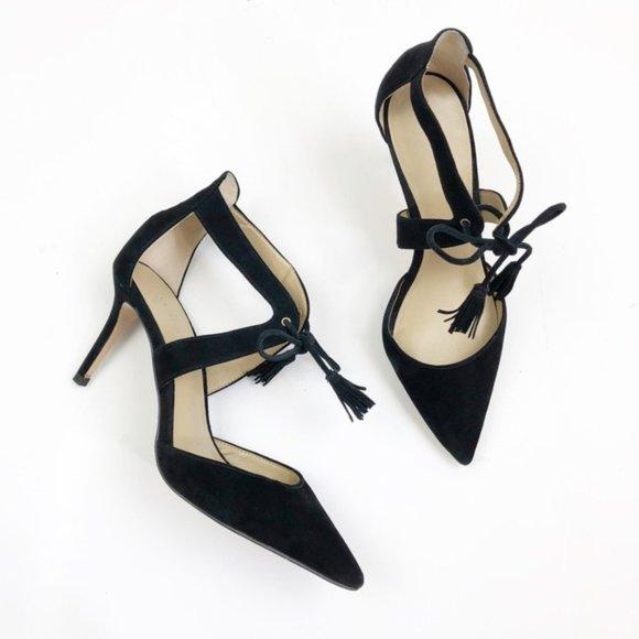 NEW ✨ Ann Taylor Suede Ankle Tie Black Heels